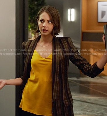 Thea's yellow top and striped blazer on Arrow
