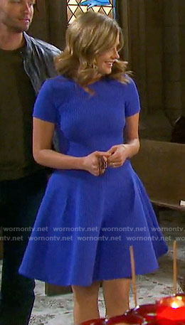 Theresa's blue textured short sleeve dress on Days of our Lives
