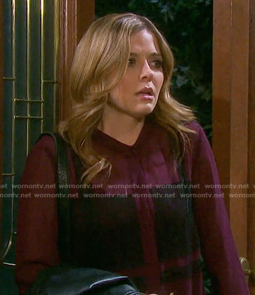 Theresa's purple blouse with black lace panels on Days of our Lives