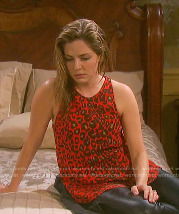 Theresa's red leopard print top on Days of our Lives