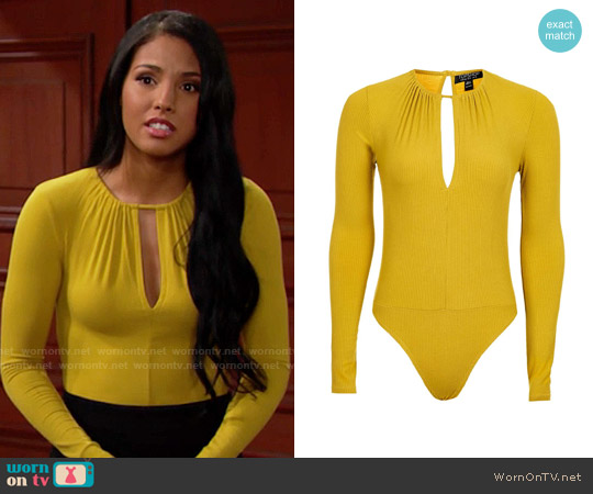 Topshop Long Sleeve Keyhole Body in Ochre worn by Felisha Cooper on The Bold & the Beautiful