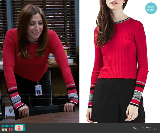Topshop Stripe Cuff Crop Top in Red worn by Gina Linetti (Chelsea Peretti) on Brooklyn Nine-Nine