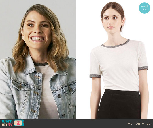 Topshop Burnout Ringer Tee worn by Shelley Hennig on Teen Wolf