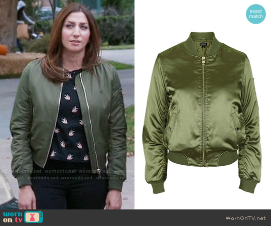 Topshop MA1 Shiny Bomber Jacket worn by Gina Linetti on Brooklyn Nine-Nine