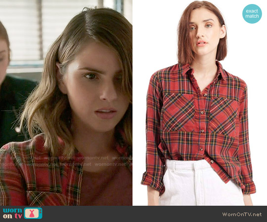 Topshop Tartan Plaid Shirt worn by Shelley Hennig on Teen Wolf