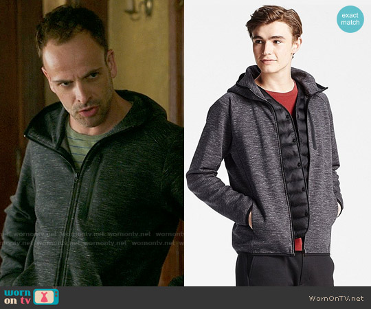 Uniqlo Dry Stretch Zip Up Hoodie in Dark Grey worn by Jonny Lee Miller on Elementary