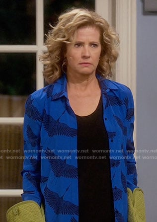 Vanessa's blue bird print shirt on Last Man Standing