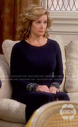 WornOnTV: Vanessau0027s navy mother of the bride dress with embellished cuffs  on Last Man Standing | Nancy Travis | Clothes and Wardrobe from TV