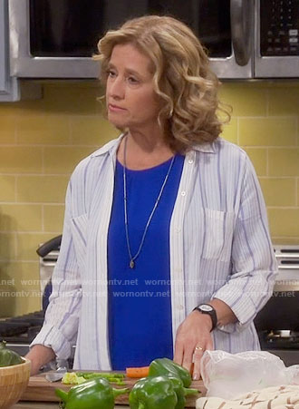 Vanessa's white striped shirt on Last Man Standing
