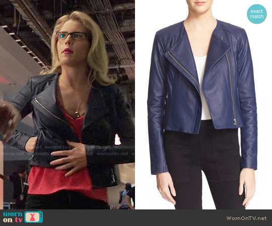 Veda Dali Leather Jacket in Lapis worn by Felicity Smoak on Arrow