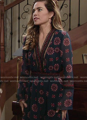 Victoria's blue printed Thanksgiving dress on The Young and the Restless