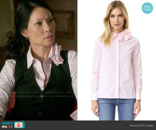 Victoria Beckham Single Bow Shirt worn by Joan Watson (Lucy Liu) on Elementary