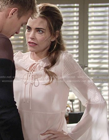 Victoria's blush bell sleeve blouse on The Young and the Restless