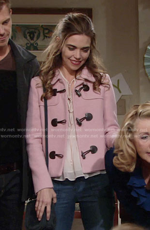 Victoria's pink toggle jacket on The Young and the Restless