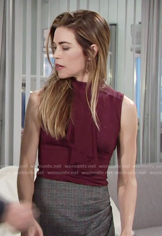 Victoria's purple ruffled top and plaid skirt on The Young and the Restless