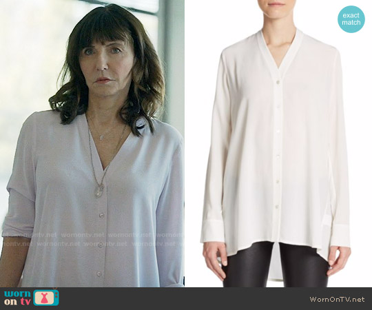 Vince Silk V-Neck Blouse worn by Gail Klostermann (Mary Steenburgen) on Last Man On Earth