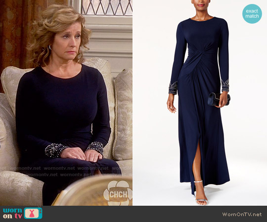 Vince Camuto Beaded Draped Gown worn by Nancy Travis on Last Man Standing