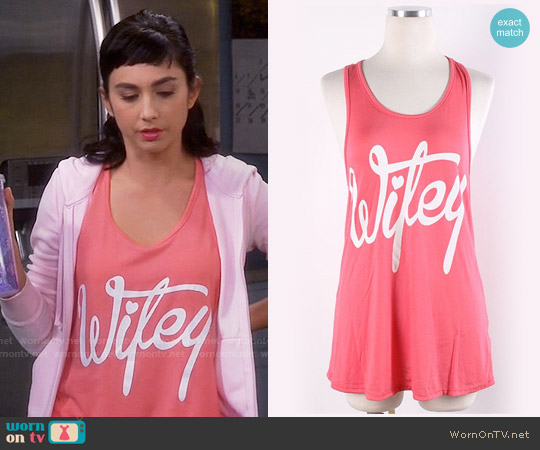 Wifey Tank in Coral worn by Mandy Baxter ( Molly Ephraim) on Last Man Standing