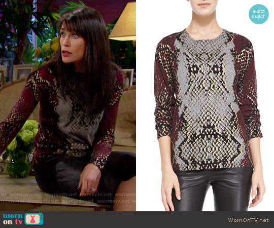 Zadig & Voltaire Python-Print Cashmere Knit Sweater worn by Rena Sofer on The Bold & the Beautiful