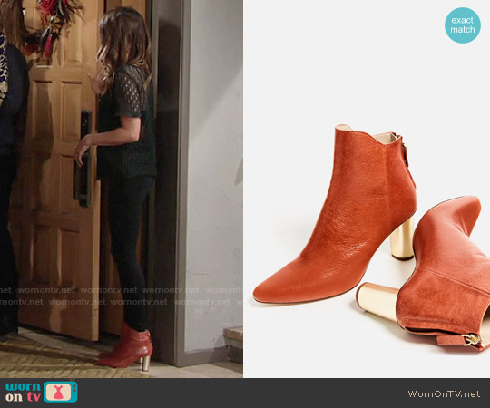 Zara Laminated Leather High Heel Ankle Boots worn by Chloe Mitchell on The Young & the Restless