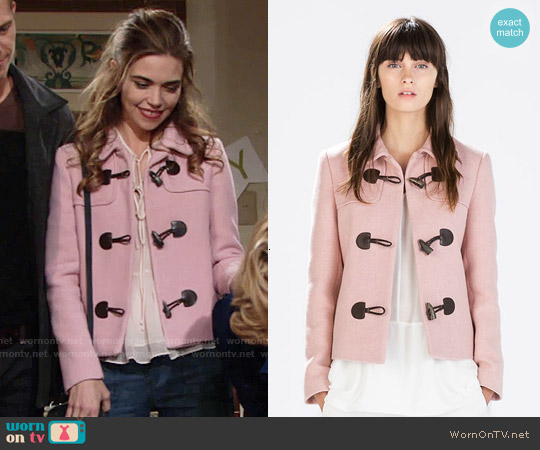 Zara Blazer with Toggles worn by Amelia Heinle on The Young & the Restless