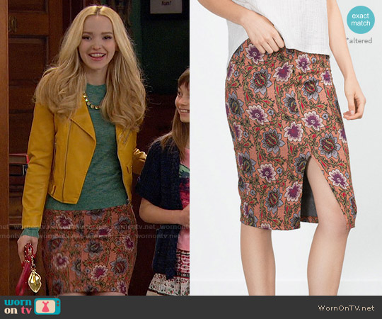 Zara Floral Pencil  Skirt worn by Liv Rooney on Liv & Maddie