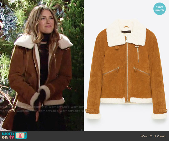 Zara Suede Jacket worn by Chloe Mitchell (Elizabeth Hendrickson) on The Young & the Restless