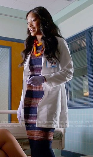 Zayday's striped textured dress on Scream Queens