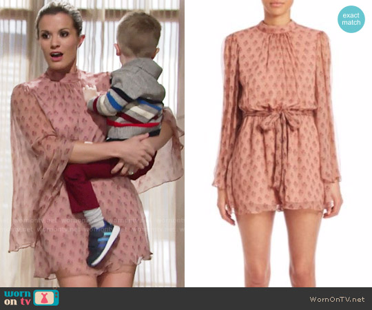 Zimmermann Karmic Flare-Sleeved Romper worn by Melissa Claire Egan on The Young & the Restless