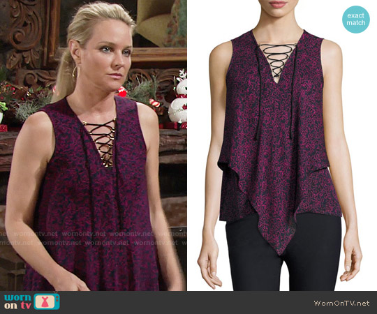 10 Crosby by Derek Lam Laced Printed Silk Handkerchief Tank worn by Sharon Case on The Young & the Restless