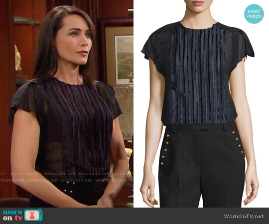 3.1 Phillip Lim Cap-Sleeve Fringe Fil Coupe Top worn by Quinn Fuller (Rena Sofer) on The Bold & the Beautiful