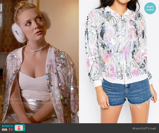 ASOS Ultimate Sequin Bomber worn by Chanel #3 (Billie Lourd) on Scream Queens