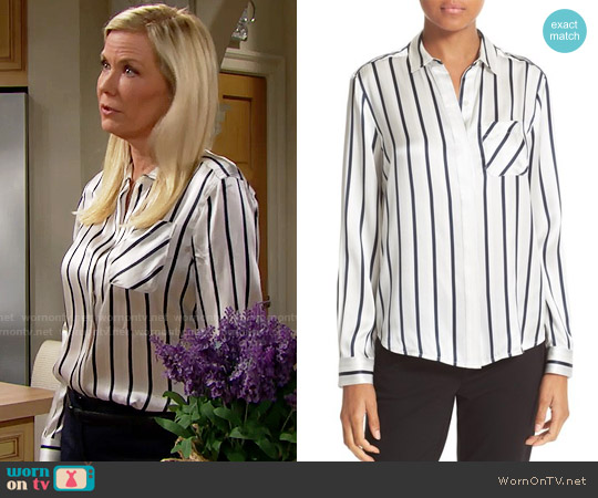 ATM Anthony Thomas Melillo Stripe Silk Shirt worn by Katherine Kelly Lang on The Bold & the Beautiful