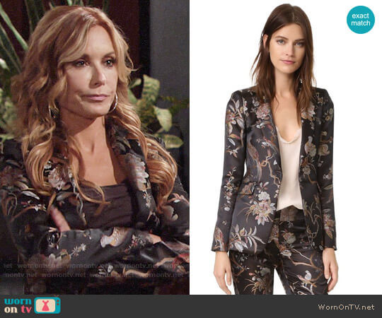 Alice + Olivia Macey Floral Blazer worn by Tracey Bregman on The Young & the Restless
