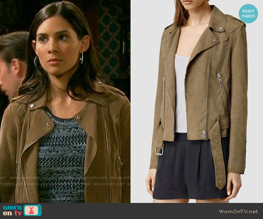 All Saints Suede Western Biker Jacket worn by Camila Banus on Days of our Lives