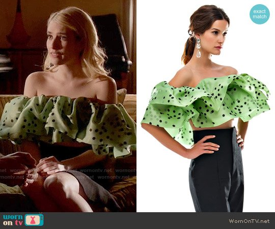 Bambah Green Polka Double Ruffle Top worn by Emma Roberts on Scream Queens
