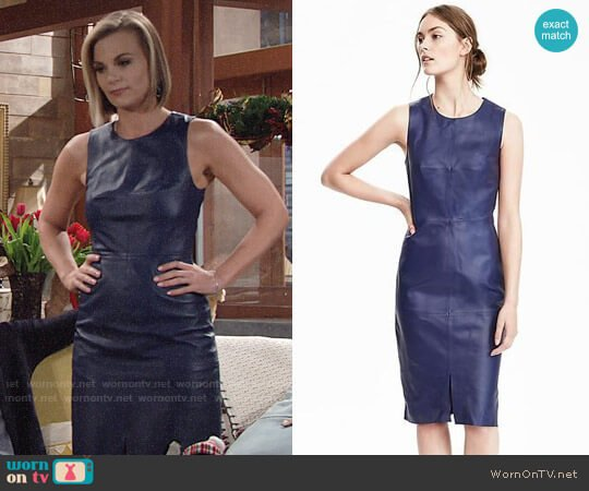 Banana Republic Leather Sheath Dress worn by Gina Tognoni on The Young & the Restless