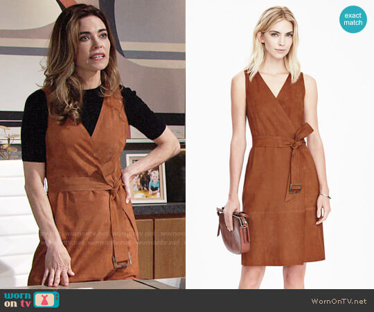 Banana Republic Vee Neck Tie Waist Dress worn by Amelia Heinle on The Young & the Restless