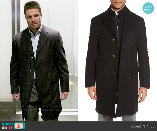 Corneliani Classic Fit Wool Topcoat worn by Oliver Queen (Stephen Amell) on Arrow