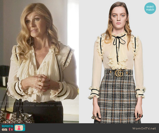 Gucci Pleated silk georgette shirt worn by Connie Britton on Nashville