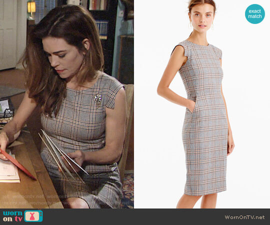 J. Crew Cap-Sleeve Dress in Glen Plaid worn by Amelia Heinle on The Young & the Restless