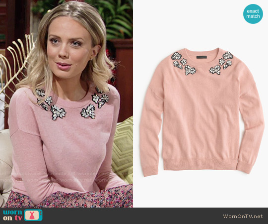 J. Crew Pink Opal-embellished Sweater worn by Abby Newman on The Young & the Restless