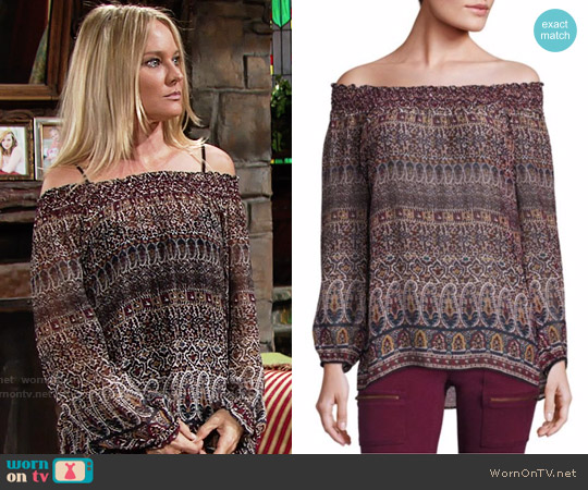Joie Azzedine Top worn by Sharon Collins (Sharon Case) on The Young & the Restless