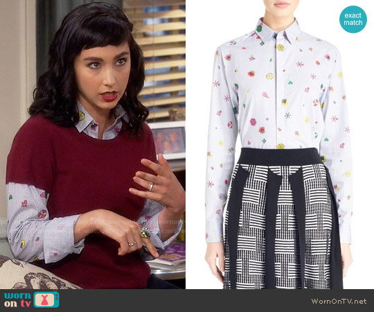 Kenzo Tanami Flower Shirt worn by  Molly Ephraim on Last Man Standing