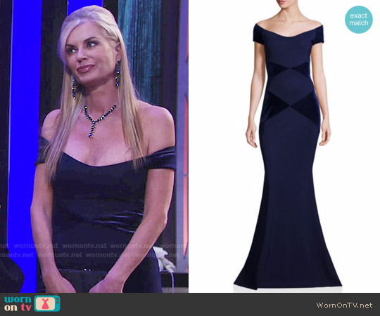 La Petite Robe di Chiara Boni Off-the-Shoulder Colorblock Gown worn by Eileen Davidson on The Young & the Restless