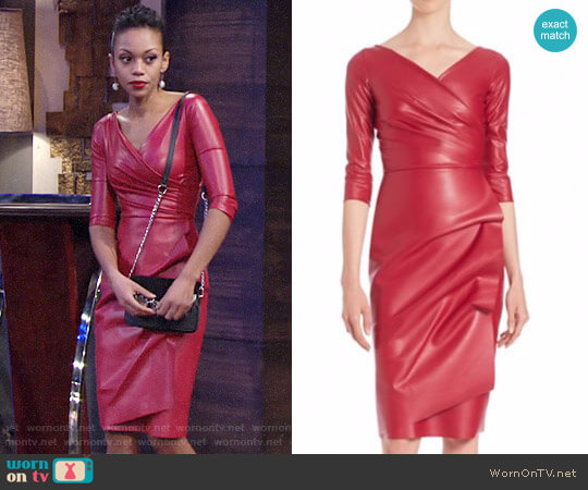La Petite Robe di Chiara Boni Ruched Faux Leather Sheath Dress worn by Hilary Curtis (Mishael Morgan) on The Young & the Restless