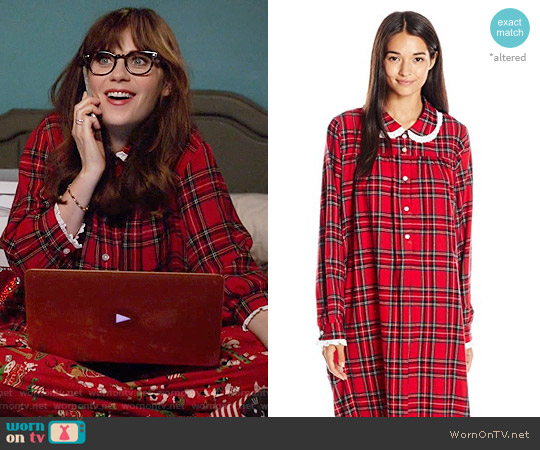 Lanz of Salzburg Classic Cotton Flannel Peter Pan Nightgown worn by Zooey Deschanel on New Girl