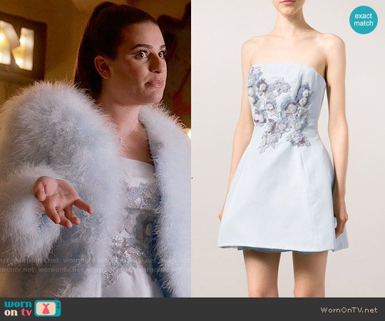 Marchesa Notte Sequin Embellished Bandeau Dress worn by Lea Michele on Scream Queens