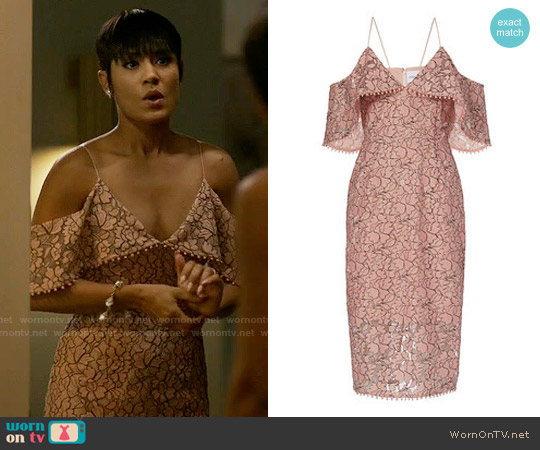 Nicholas Basque Lace Off the Shoulder Dress worn by Grace Gealey on Empire