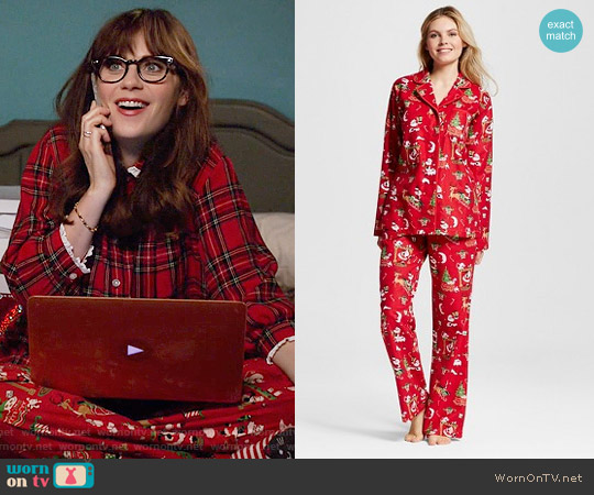 Nite Nite Munki Munki Santa Flannel Pajamas worn by Jessica Day on New Girl